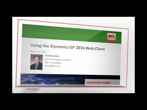 Using the Dynamics GP 2016 Web Client