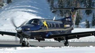 Pilatus PC-12 impressive landing (2x) & take-off @ Samedan - 22/01/2014