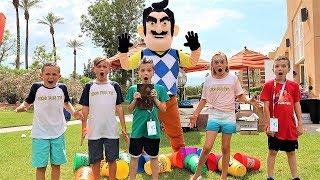 Nerf Battle:  Payback Time vs Hello Neighbor Part 2 (Kids Fun TV Finds The Stones)