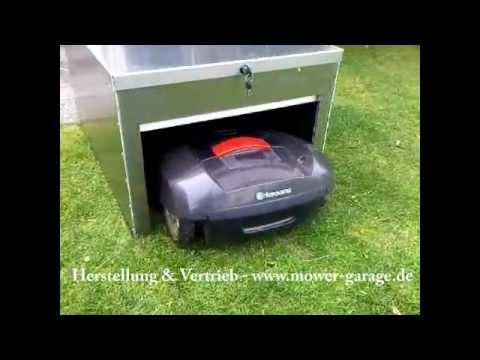 mower garage f r m hroboter youtube. Black Bedroom Furniture Sets. Home Design Ideas