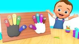 Baby Fun Learning Numbers & Colors with Wooden Hand Fingers ToySet 3D Kids Children Educational