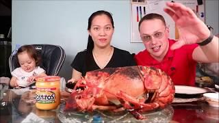 Vlog 599 ll Tôm Hùm 3,4kg Giá 1 Triệu 9 Luộc Chấm Phô Mai Béo Ngậy. 7lbs Lobster with cheese