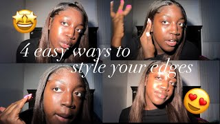 4 EASY WAYS TO STYLE YOUR EDGES WITH STRAIGHT HAIR/SEW IN😍