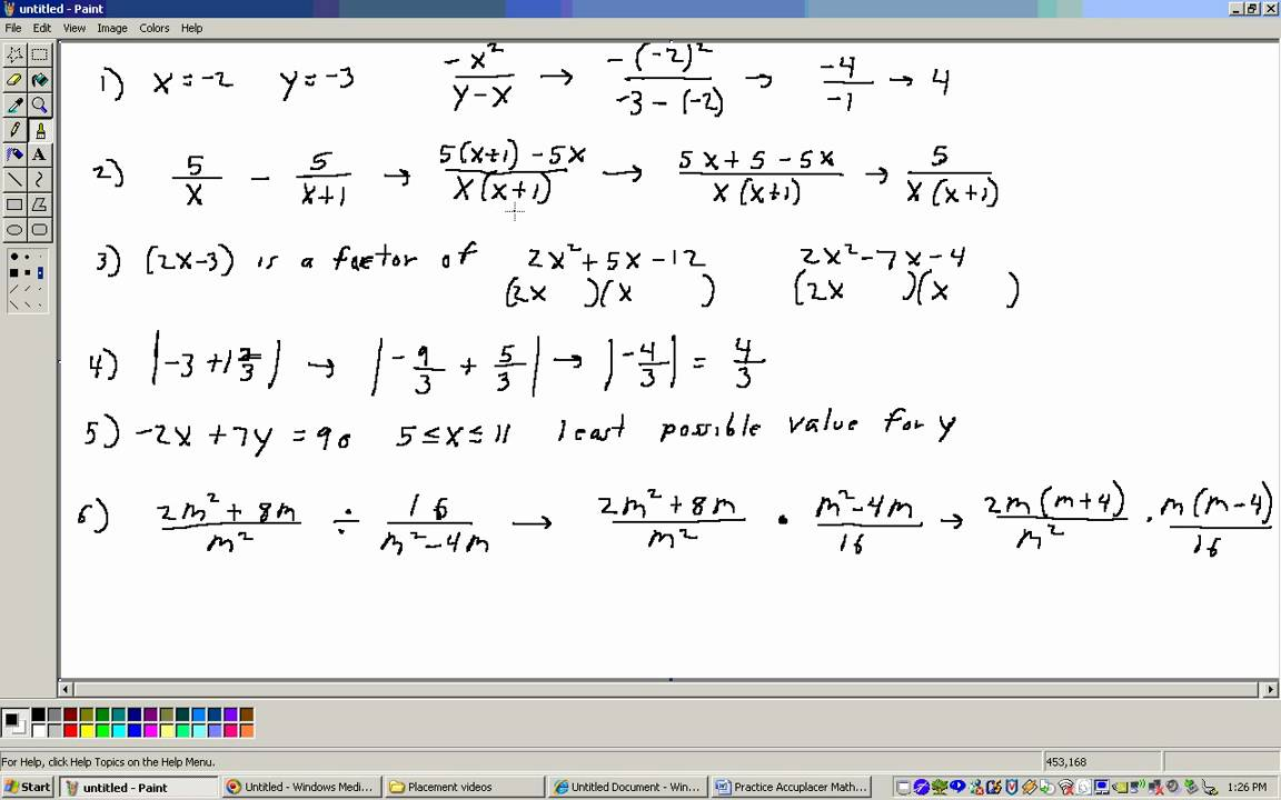 Accuplacer Math Placement Test 1 Algebra section Part 1 ...