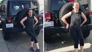 'Captain Marvel' Star Brie Larson Pushes 5,000-Pound Jeep