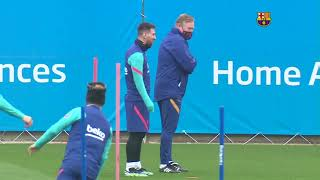 Koeman joke makes Messi smile as Barcelona train ahead of Sevilla