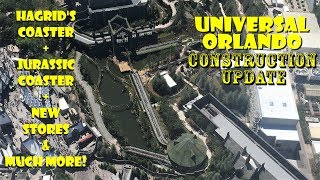 Universal Orlando Resort Hagrid's / Jurassic Coaster Construction Update 4.22.19 Aerial Views & More