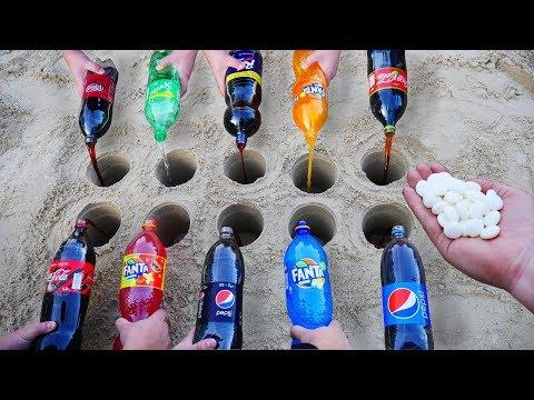 Experiment: Coca Cola, Fanta, Sprite, and other Sodas vs Mentos in different Holes Underground