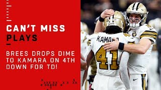 Brees Drops Dime to Kamara on 4th Down for TD!