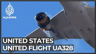 US flight UA328 lands safely in Denver following engine failure