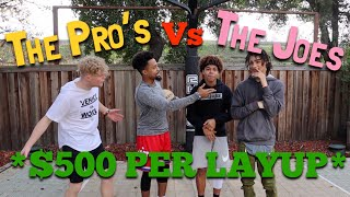 THE PRO'S Vs THE JOES!! *CRAZY LAYUP EDITION* (Feat TRISTAN JASS)