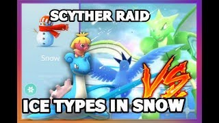 POKEMON GO SNOWY WEATHER ARTICUNO VS SCYTHER RAID | SMOOCHUM VS LEVEL 6 GYM IN SNOW