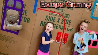 Escape the Babysitter Granny in Real Life Escape Room! We Lock Granny in Box Fort!!!