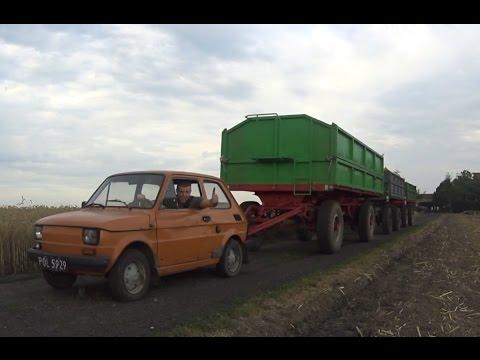 Maluch (Fiat 126p) ciągnie trzy duże przyczepy ! Hardcore !