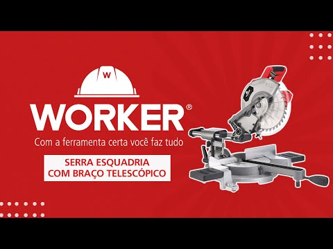 "Serra Esquadria Telescópica 1800W 10"" 250Mm Worker - 127V - Vídeo explicativo"