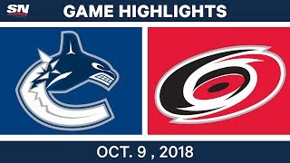 NHL Highlights | Canucks vs. Hurricanes - Oct. 09, 2018