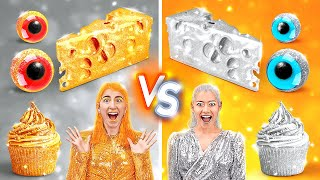 GOLD VS SILVER FOOD CHALLENGE! Eating Only One Color Food For 24 HOURS  by 123GO! CHALLENGE