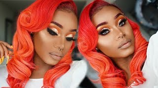 The PERFECT BRIGHT Red hair on WOC + MINI Makeup Tut  | Maxglamhair