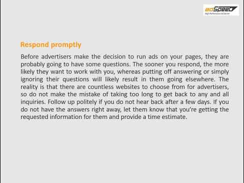 Providing good customer service to your advertisers - Video by WatsonF