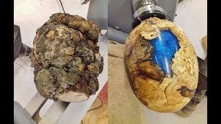 Woodturning - One Big Ugly Burl into a dragon egg !!
