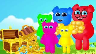Cute Mega Gummy Bear Família Tendo Chiclete De Sorvete Finger Family Canção Crianças Dos Desenhos A