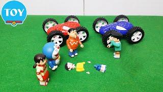 Doraemon toy Gian and Suneo racing spider car hit Nobita broken