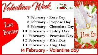 Valentines Week List 2018 |Valentine Day Chart|Calendar|Valentine Week List|Date|Schedule|