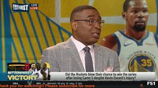 First Things First   Warriors beat Rockets 104-99; KD left game with right calf strain- Cris WORRIED