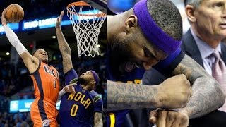 Russell Westbrook Dunks on DeMarcus Cousins! 40+ Triple Double! Pelicans vs Thunder