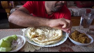 Eating show with sound | eating tundul ruti and mutton curry with salad