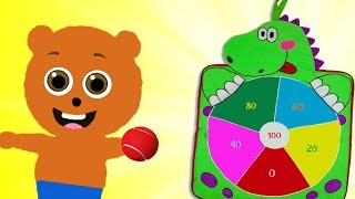 Mega Gummy bear Fun Play with Dart Ball Cartoon Animation Nursery Rhymes