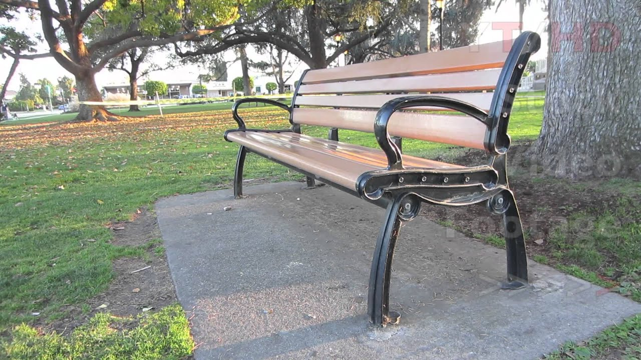 Outdoor Public Wooden Park Bench W Metal Wrought Or Cast