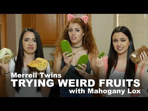 TRYING WEIRD FRUITS - Merrell Twins feat. Mahogany Lox!!!!