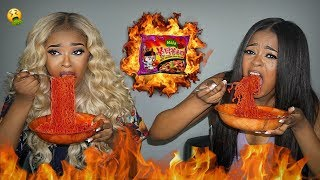 INSANE 4X SPICY MALA FIRE NOODLE CHALLENGE GONE WRONG 😳🔥   Pitts Twins