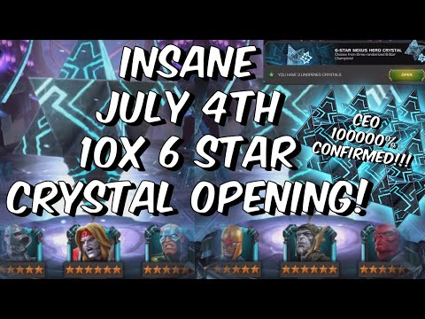 INSANE July 4th Weekend 10x 6 Star Crystal Opening - CEO 10000000% - Marvel Contest of Champions