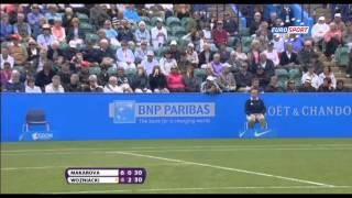 Wozniacki-Makarova footfault discussion with judge
