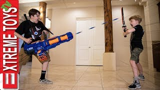 Cartoon Madness! Sneak Attack Squad Sword Battle With Nerf Titan!