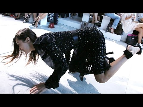 Bella Hadid Falls During Michael Kors Fashion Show
