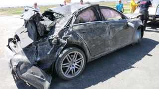 Audi RS 4 rollover at Willow Springs Raceway
