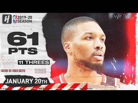 Damian Lillard AMAZING 61 Points Full Highlights | Warriors vs Blazers | January 20, 2020