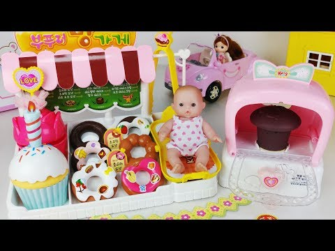 Baby Doll and Oven Bakery food shop toys car play 콩순이 아기인형 부푸러 빵가게 뽀로로 자동차 장난감 - 토이몽