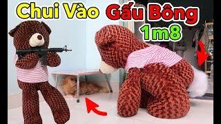 Lâm Vlog - Thử Chui Vào Trong Gấu Bông Teddy 1m8 và Đi Hù Người Khác   Teddy Bear Troll