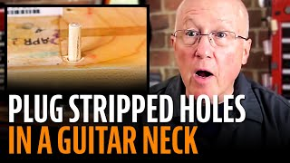 Watch the Trade Secrets Video, Video: Plugging stripped holes in bolt-on guitar necks