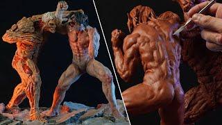Sculpting EREN vs REINER Diorama |  Attack On Titan [ 500K Special ]