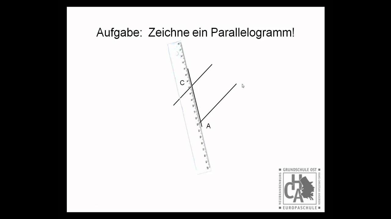 parallelogramm mit geodreieck zeichnen youtube. Black Bedroom Furniture Sets. Home Design Ideas