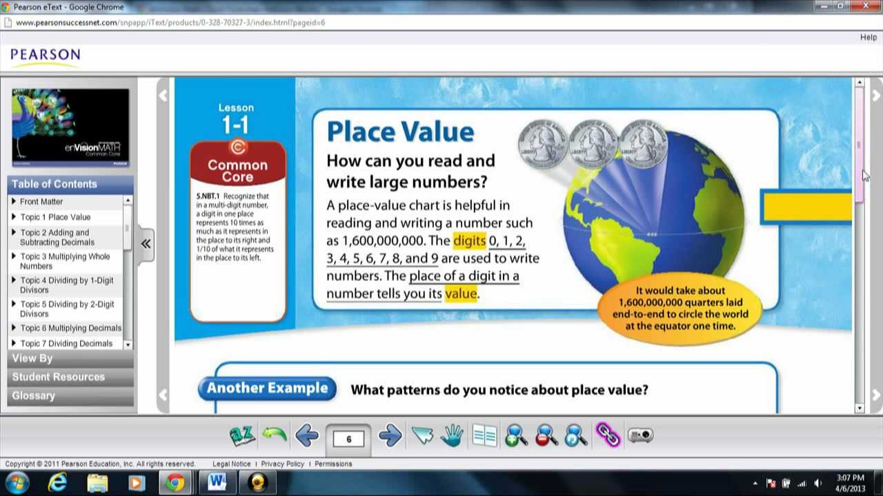 enVision Math 5th Grade Common Core- Learning Place Value ...
