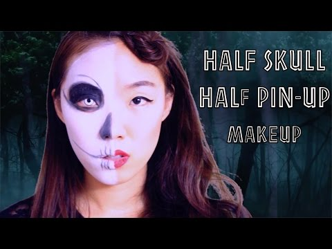 Baixar EASY last minute halloween makeup tutorial - Half skull / Half classic pin up doll makeup