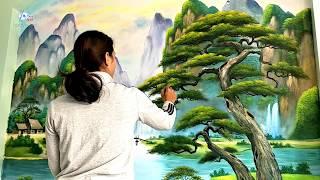 Vẽ tranh tường 3d phong cảnh sơn thủy. Liên hệ vẽ tranh: 0969.033.288/Đào tạo các khóa học vẽ tranh.