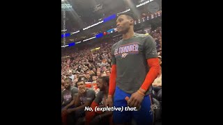 See Russell Westbrook's heated exchange with a fan