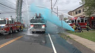 South Farmingdale,NY Fire Department Ladder 978 Wetdown 6/3/18